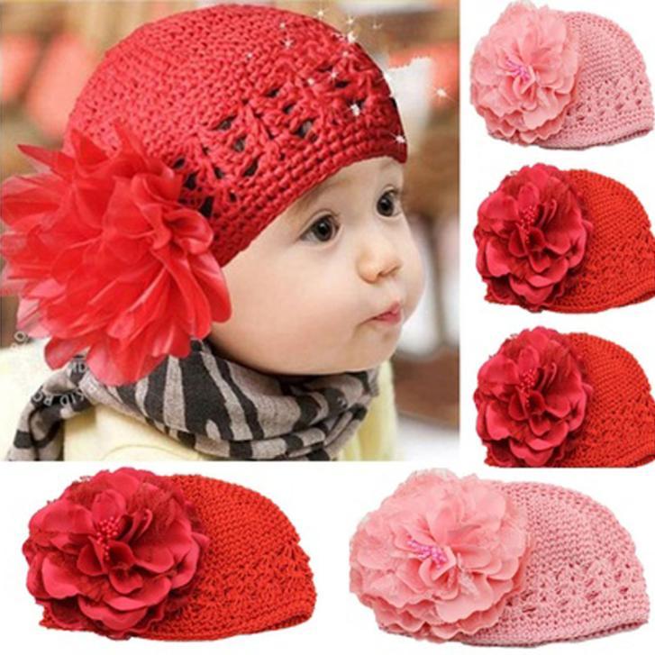 2017 Newborn Toddlers Infant Baby Girl Flower Crochet Beanie Knitted Hat Soft Handmade Cap Headband Headwear Photography Props(China (Mainland))