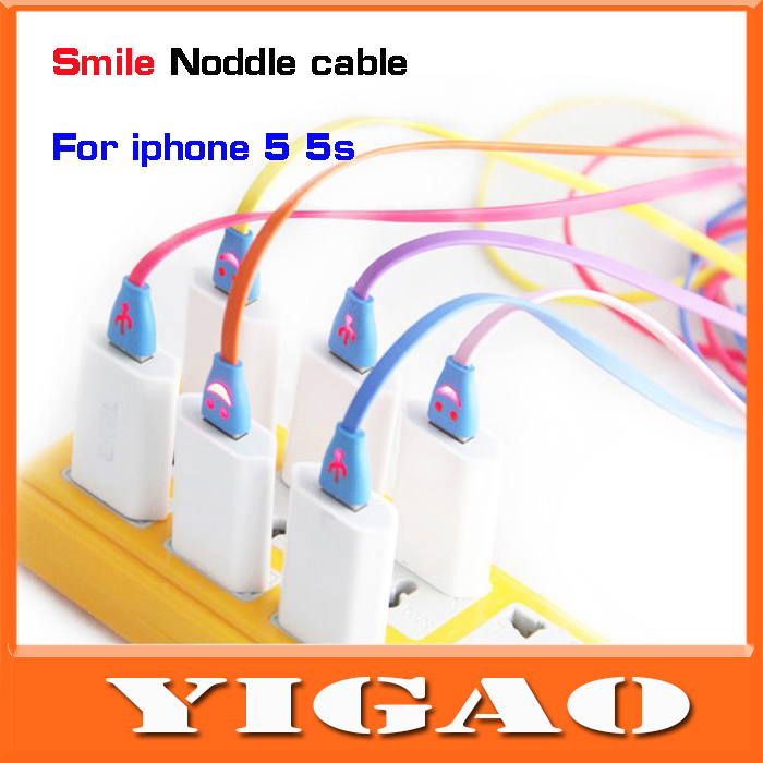 New 2014 Noddle 1M 3ft USB Cable 1m for Apple Iphone 5 5s Ipad 4 Ipad mini 1 2 Phones Charger Data Sync Cable FreeShipping(China (Mainland))