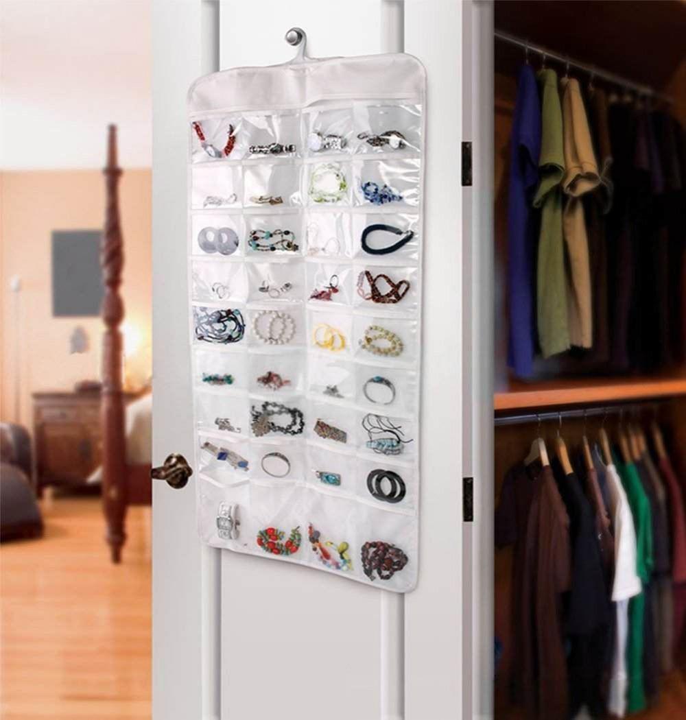 household essentials hanging jewelry 72-Pocket Transparent hanging Accessories Organizer(China (Mainland))