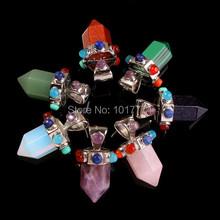 Natural Gem Stone Hexagon Prism 7 Beads Chakra Reiki Pendulum Pendant Charms Health Amulet Fashion Jewelry 14pcs Mix Order