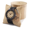 BOBO BIRD 2016 Natural Bamboo Ebony Wood Quartz Analog Wristwatch For Men Top Brand Luxury Watches