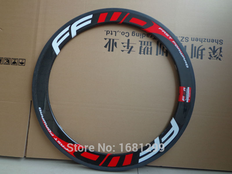 1Pcs New red FFWD 700C 60mm clincher rims Road bike aero 3K UD 12K full carbon bicycle wheels rims 20.5 23 25mm width Free ship(China (Mainland))