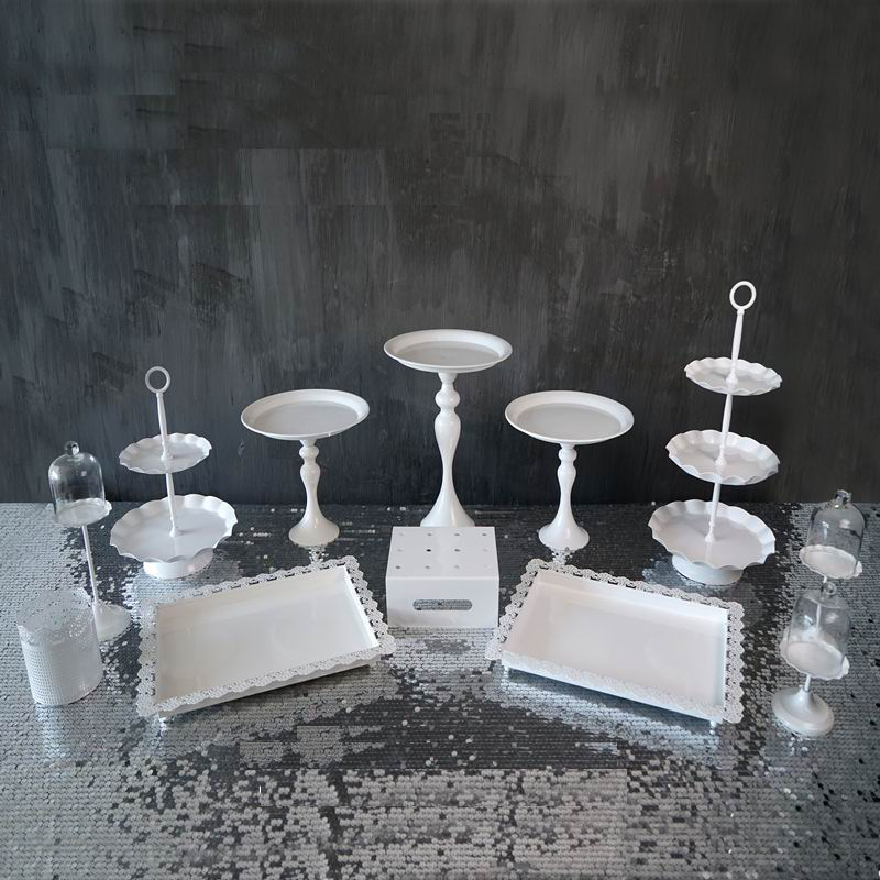 High quality by EMS wedding/party delicate iron cake plate/dessert service stand /snack pan white 12pcs/set sw001(China (Mainland))