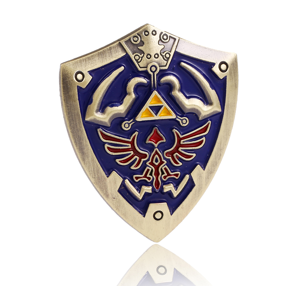 2 Color Metal Medal The Legend Of Zelda Shield Brooches for man fashion Japanese Anime Badge Christmas Blue Brooch Gift Jewelry(China (Mainland))
