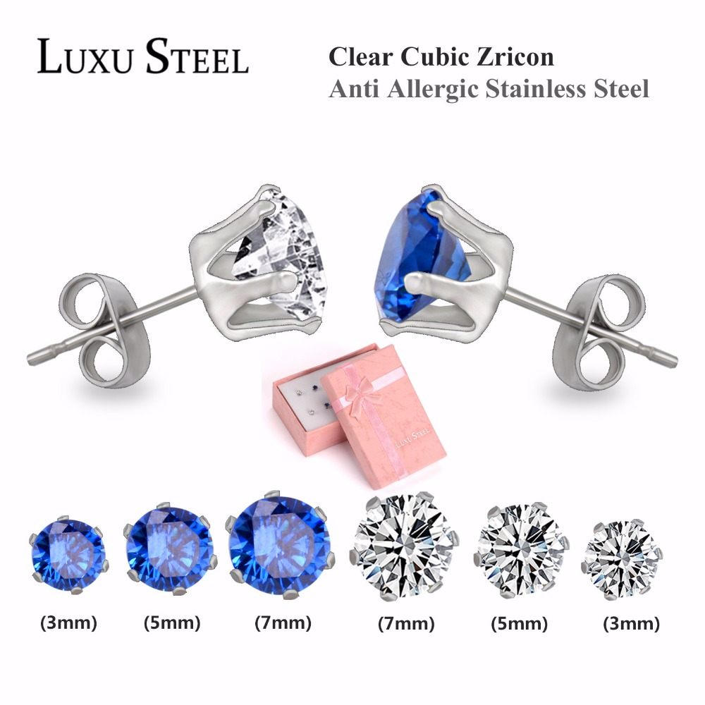 Flower Shaped Stud Earrings Set For Engagement, Royal Blur/ White Colour Round Precious Stone Earrings set With Steel Ear Holder(China (Mainland))
