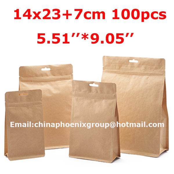 high quality brown ziplock paper bag, Doypack Pouch Ziplock Packaging Bag 100Pcs/Lot 14x23+7cm(5.51''*9.05'') Free Shipping(China (Mainland))