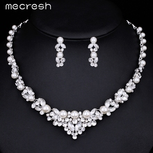 Mecresh Elegant Simulated Pearl Bridal Jewelry Sets Wedding Jewelry Leaf Crystal Silver Plated Necklaces Earrings Sets TL280(China (Mainland))