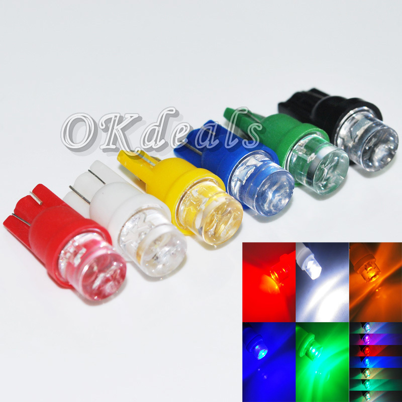 10PCS Long-lasting 12V T10 W5W 194 168 501 Car LED Inverted Side Wedge Bulbs Lamps 6 Colors Choice(China (Mainland))