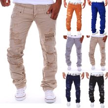 2016 men's fashion casual ripped long Hole design cargo pants /male double waist decoration overalls trousers