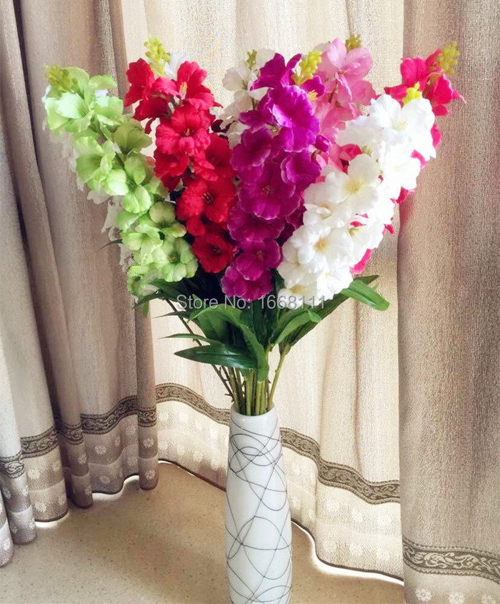 "Silk Hibiscus Flower 18 Head 93cm/36.61"" Artificial Gladiolus Wedding Decorative Flowers for Bouquet Gift Home Party Decorations(China (Mainland))"