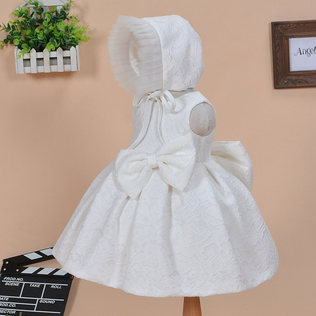 Baby Girl Baptism Dress With Hat Bow Gown Ball White Formal Baptism Clothes 2016 New Baby Girl Christening Gowns ABF164708(China (Mainland))