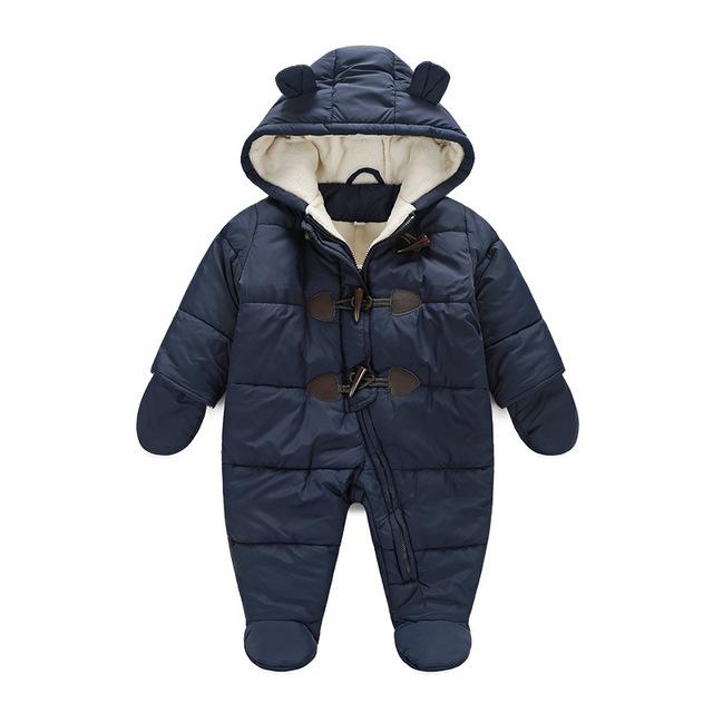 Новый 216 детская зимняя одежда хлопок толстые теплые С Капюшоном детские комбинезоны новорожденный мальчик девушка ползунки дети snowsuit вниз одежда