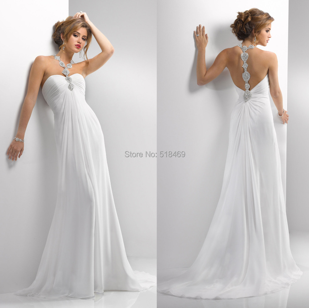 fashion flowy chiffon halter top a line wedding dress bridal