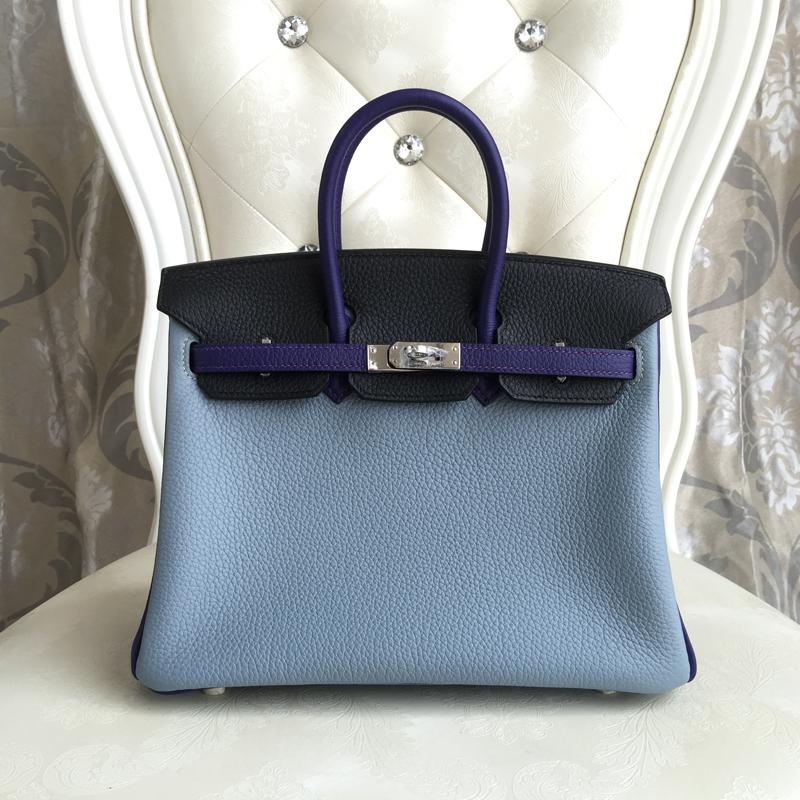100% Hand Stitching  full sew-on 3 color block platinum decoration togo 25cm linen blue iris black Women Casual Totes<br><br>Aliexpress
