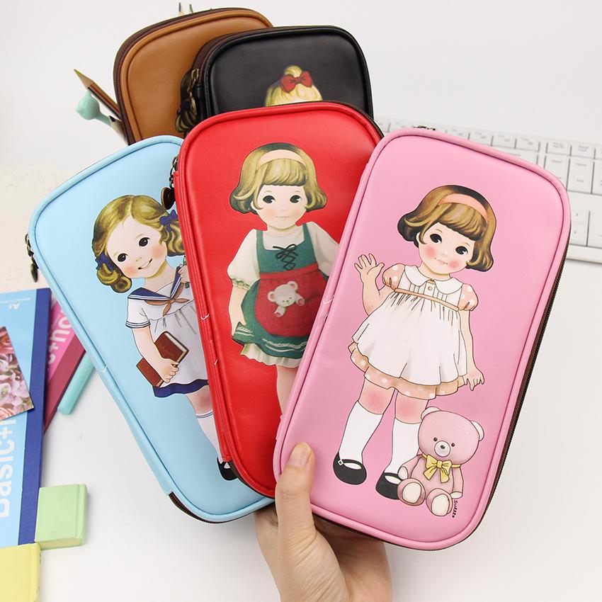 1 PCS New Arrived PU Little Girl Pencil Case Big Capacity Pencil Bag Stationery Escolar School Supplies(China (Mainland))