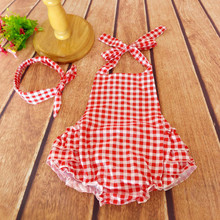 Ruffled Baby Girl Sunsuit Romper Grids Printing Baby Girls Clothing Set Cut Kids Jumpsuit Cotton Chevron Rompers Photo Props(China (Mainland))