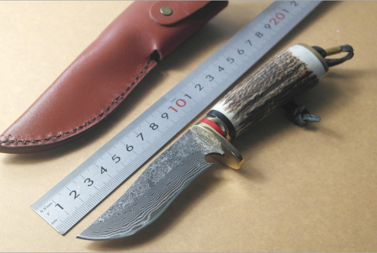 Buy 2016 hot Straight knife outdoor Damascus steel knife antler hunting knife handle gift collection cheap