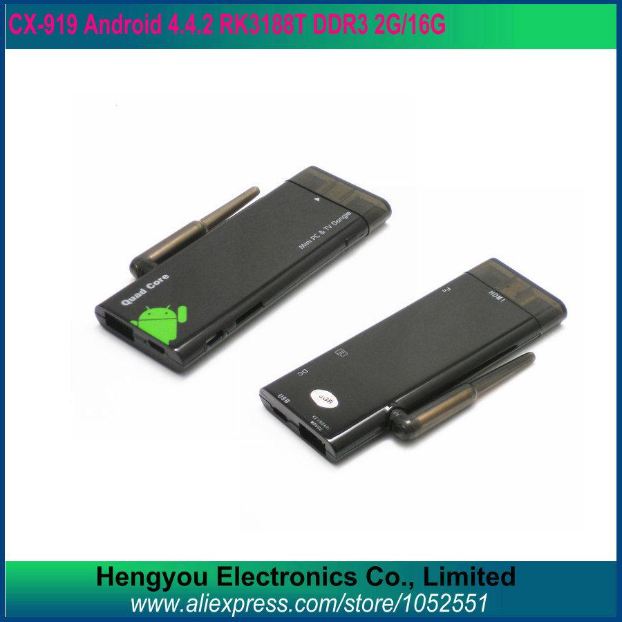 Android TV Box Stick Quad Core RK3188 2G RAM 16G 4.4.2 Mini PC 2 Antenna WiFi HDMI Media Player Smart Receiver CX-919(China (Mainland))