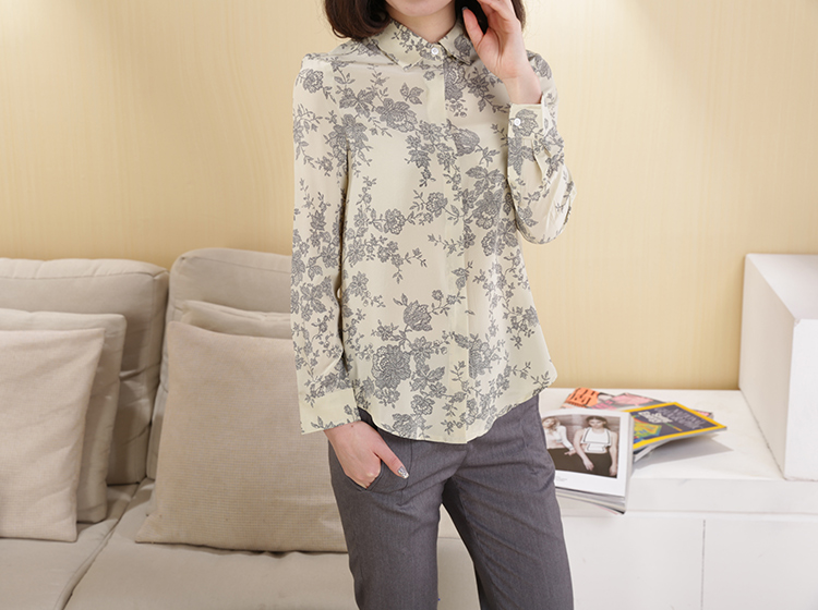 pattern 100% female silk long-sleeve shirt comfort classy fashion shirts printing crepe de chin knitted blouses-b146 - Silk life House store