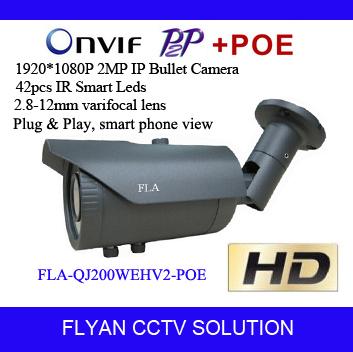 1920*1080P HD IP camera outdoor ir night vision network onvif p2p poe cctv hd camera 2 megapixel varifocal lens hd ip kameras