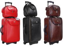 PU koffer gepäck set frauen & herren reisetaschen trolley koffer rollgepäck 2 stück 20' + 10''(China (Mainland))