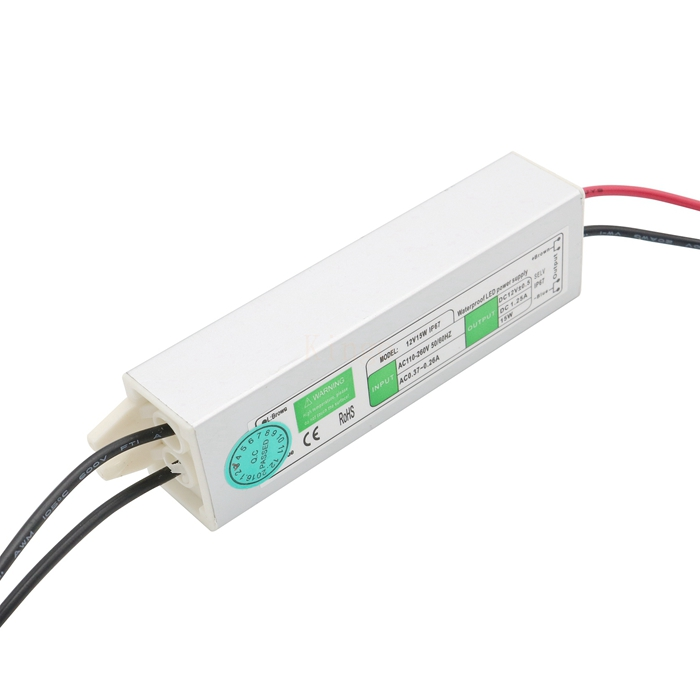 Waterproof IP67 DC 12V 1.25A 15W LED Driver AC 100V-260V Adapter for LED strip Underwater light Power Supply Free shipping(China (Mainland))