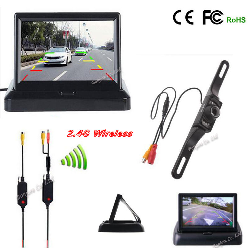 2.4G wireless Parking Assist 7 infrared night vision Car Reverse cam with 4.3 TFT LCD monitor Screen Rearview camera safe system(China (Mainland))