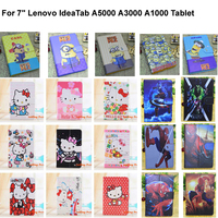 """Kids Gifts  Congelados Yellow Minion Hello Kitty 7 inch PU Leather Case Cover For 7"""" Lenovo IdeaTab A5000 A3000 A1000 Tablet"""
