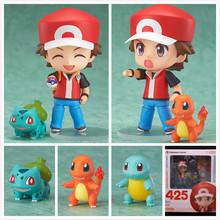 Pokemon PVC Figure Toy Nendoroid Ash Ketchum Zenigame Charmander Bulbasaur Action Figure Pokemon Red Anime Collectible Model Toy