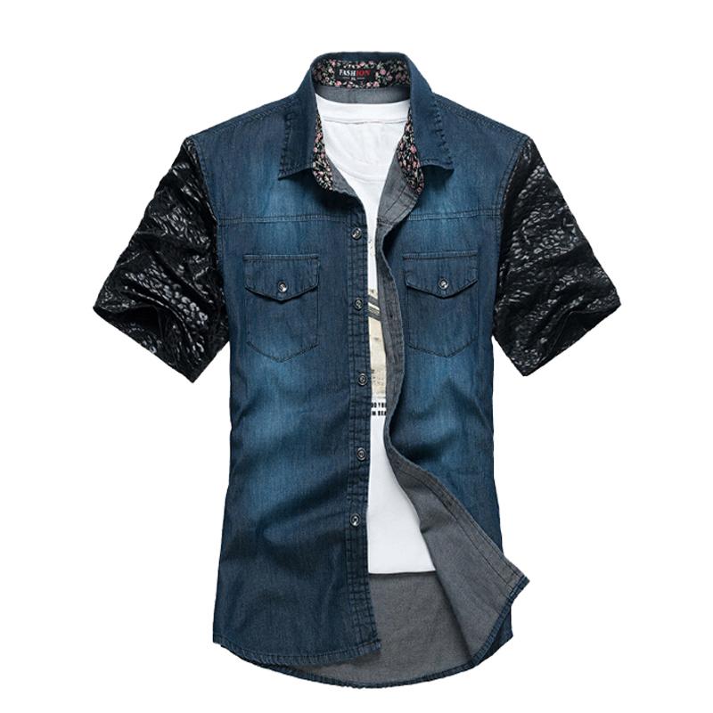 2016 New Fashion Summer Trend Water Wash Wearing BlueGray Men's Short Sleeve Cotton Denim Shirts Casual Camisa Slim Fit Social35(China (Mainland))