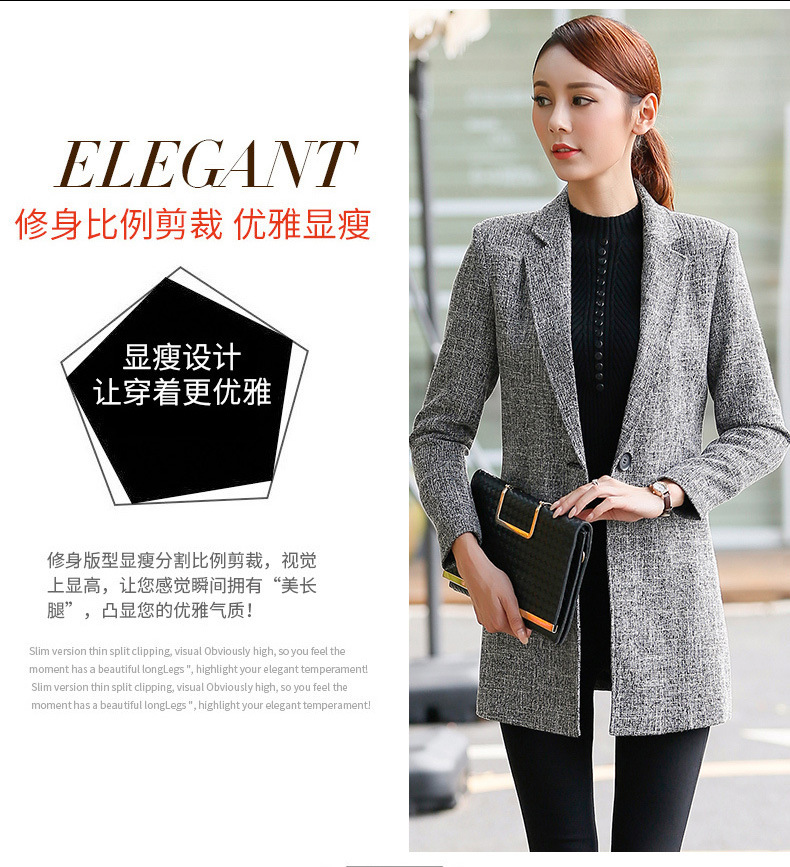 2016 OL commuter long small suit female coat of cultivate one's morality long-sleeved fashion ladies suit