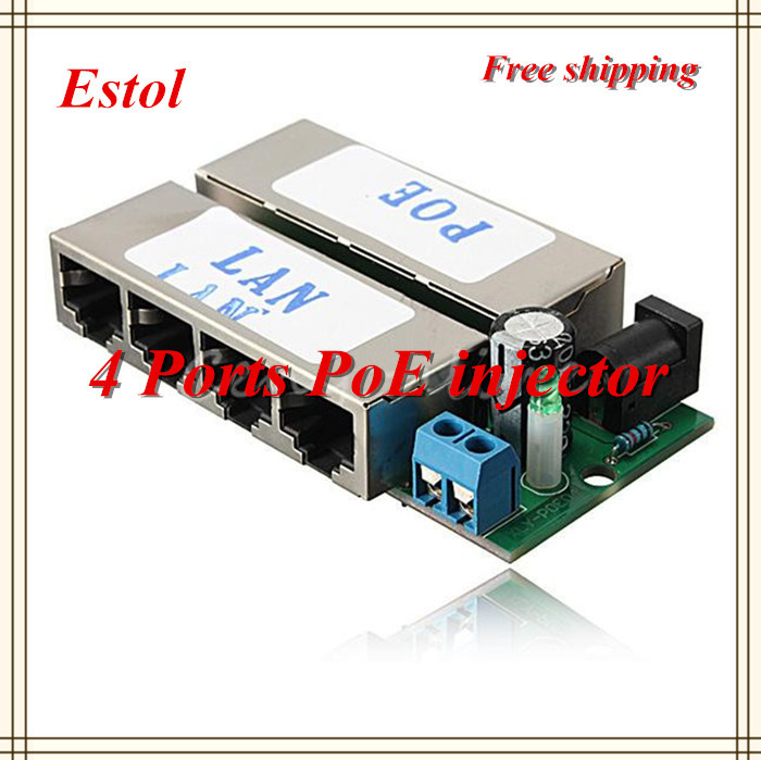 Free shipping 4 LAN Ports Passive adapter Pin 4 5/7 8 Power Over Ethernet PoE Injector module For DC 48V Plug IP Camera 4 pcs(China (Mainland))