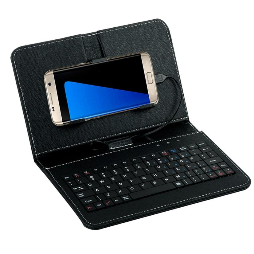 Top Quality General Wired Keyboard Flip Holster Case For Android 4.2''-6.8'' Mobile Phone Unique PU Leather with Keypad MAY17(China (Mainland))