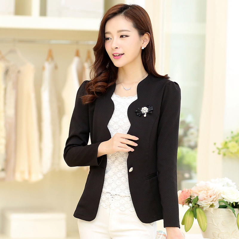 5XL Plus Size 2015 new arrival Spring Autumn Casual women long sleeve blazer suit women outer wear jacket blazer free shipping(China (Mainland))