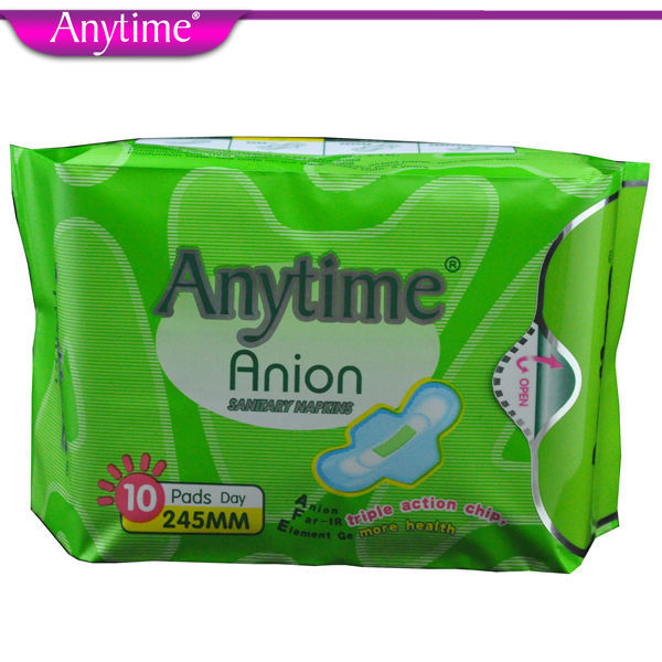 100% Quality Guarantee 2 Packs (20 Pads) Feminine Hygiene Products Lady Anion Sanitary Napkin Cotton Menstrual Pad for Women(China (Mainland))