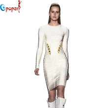 New Arrival women bandage Dress Full Sleeve Metal on Waist Sides Celebrity Formal Proms White Drop Shipping HL2272(China (Mainland))