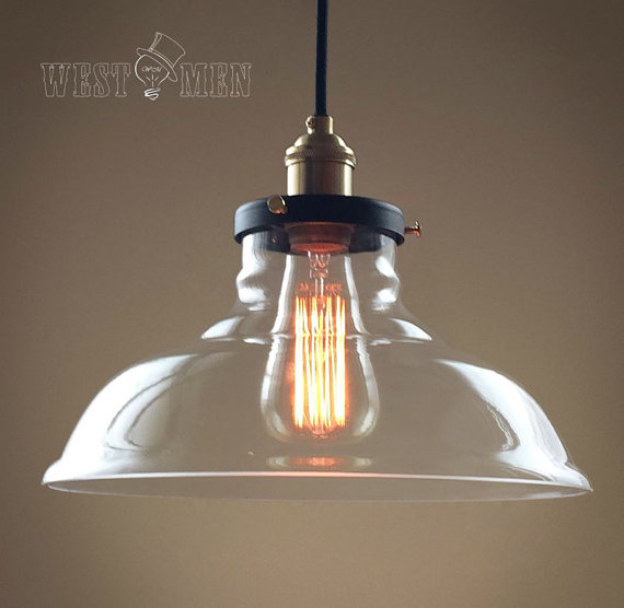 Rustic rural clear glass bell shade pendant light retro - Clear glass ceiling light ...