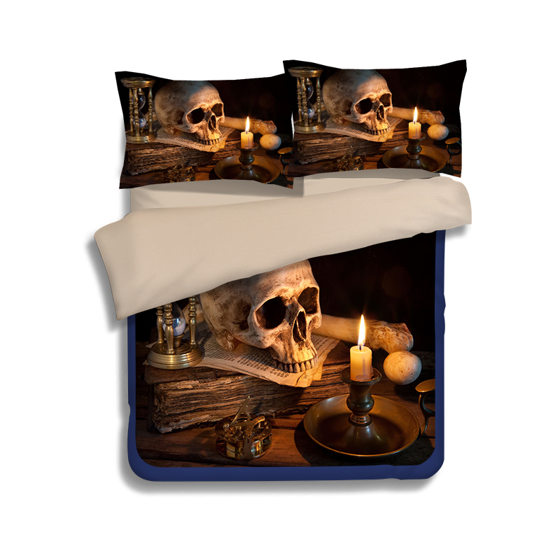 happy Halloween skull 3d print bedding sets twin full queen king size duvet covers European Adult bedroom decoration black brown(China (Mainland))