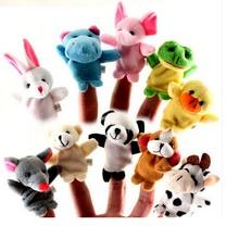 10 pcs Cartoon Biological Animal Finger Puppet Plush Toys Child Baby Favor Dolls Baby Kids Children Gift Toys Free Shipping(China (Mainland))