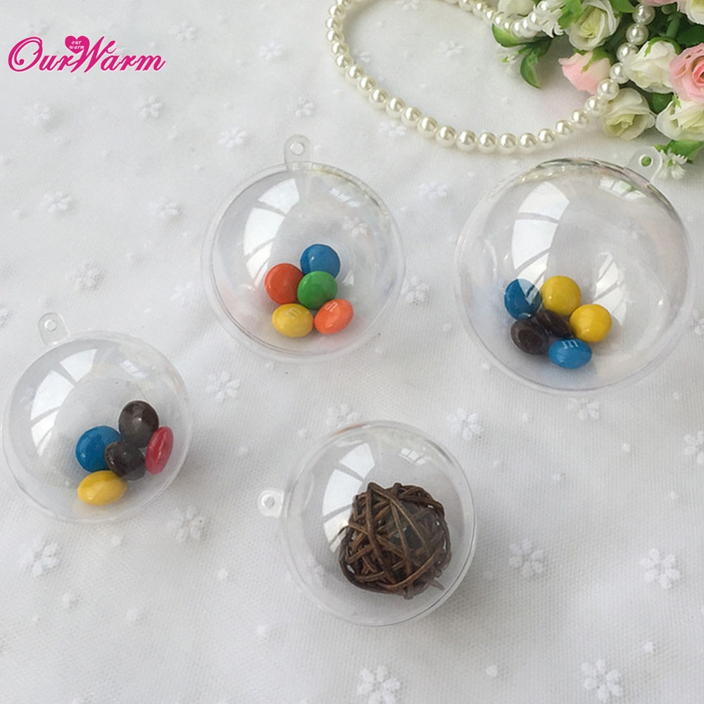 50pcs 80mm transparent plastic gift candy box fillable ball baubles decor wedding xmas christmas. Black Bedroom Furniture Sets. Home Design Ideas