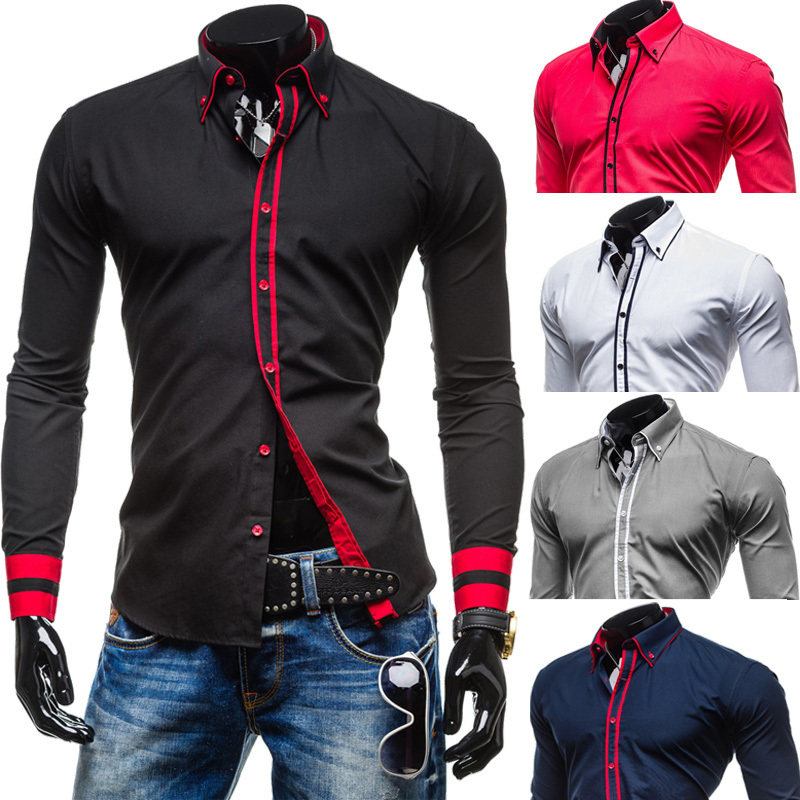 2015 New Mens Long Sleeved Dress Shirts Double Collar Button Unique Design Slim Fit Brand Shirts Chemise Homme Camisa Masculina(China (Mainland))