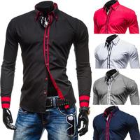 2015 nuovi mens maniche lunghe camicie doppio colletto button design unico slim fit camice di marca chemise homme camisa masculina