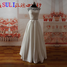 SL-022009 Elegant A-line Sweetheart Lace Bodice Beaded Belt Wedding Dress(China (Mainland))