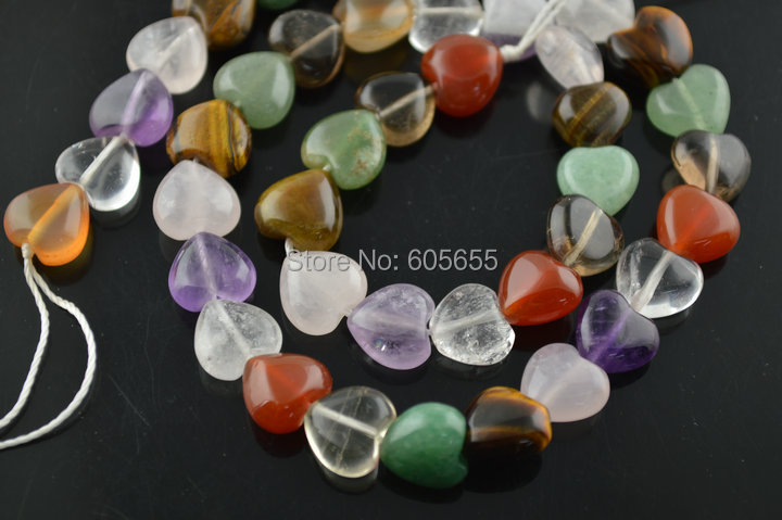 10mm Natural Mix semi precious stone Crystal Quartz Heart Shape Loose Beads<br><br>Aliexpress