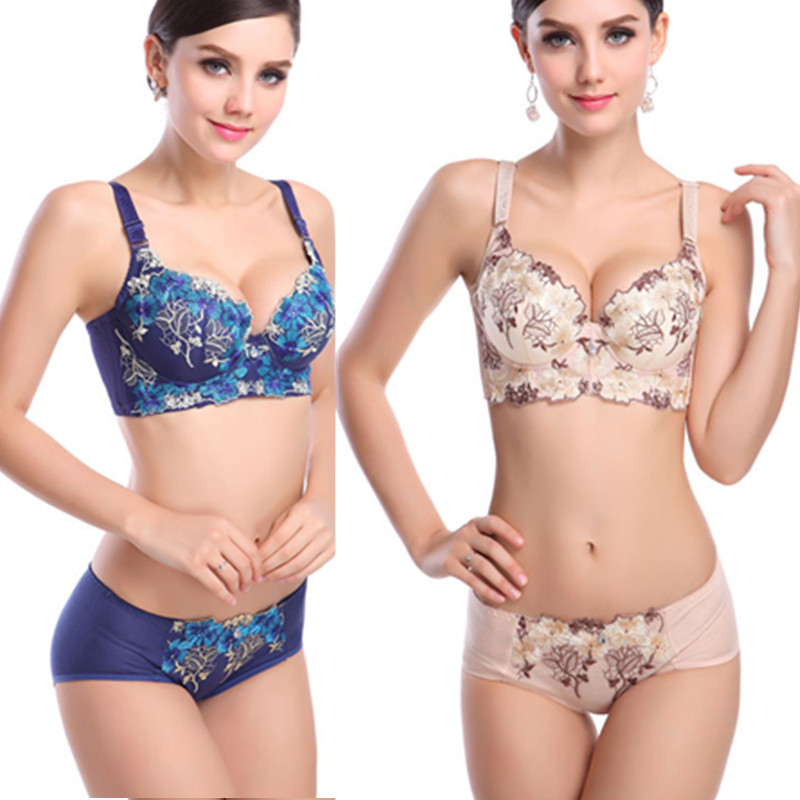 2015 New Arrival Three Quarters(3/4 Cup) Patchwork Embroidery Sexy Bra &amp Brief Sets Sexy Bra Set Ensemble Femme Lingerie(China (Mainland))