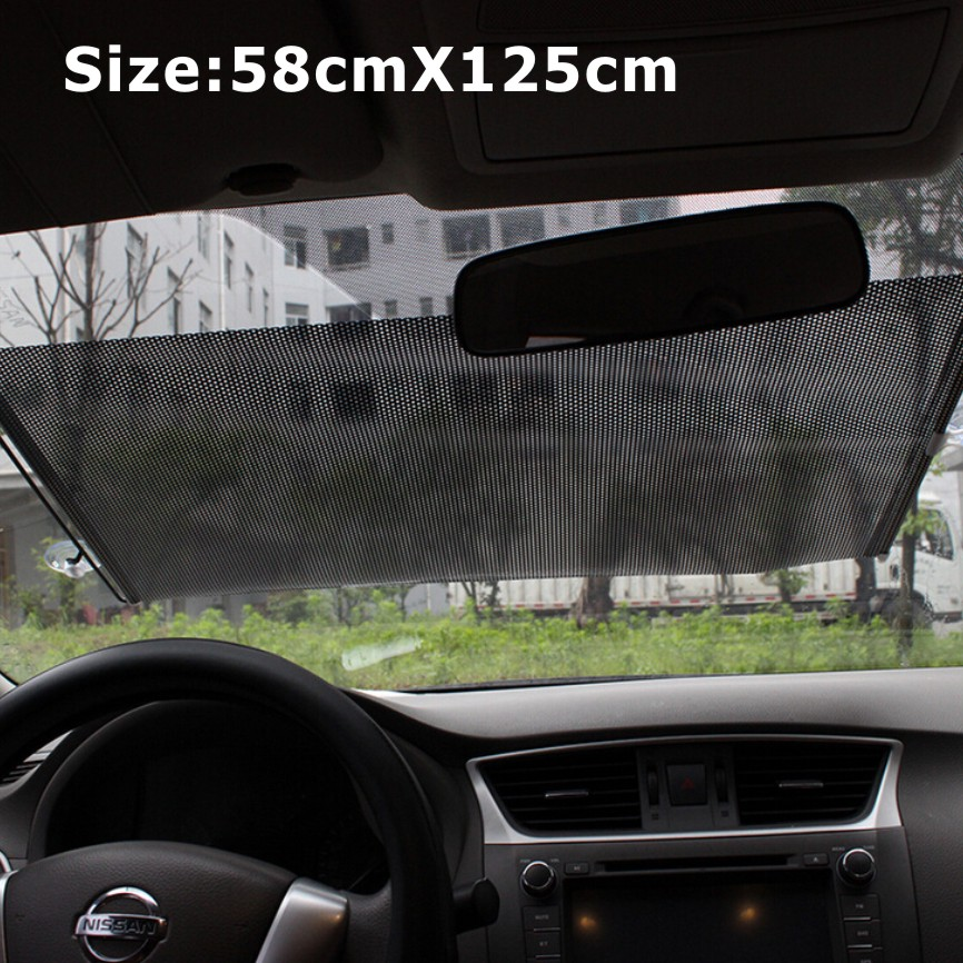 58x125cm Auto Retractable Silver/Black UV Protection Front Windshield SunShade Car PullRoll Rear Rewinding Visor Cover Sunshield(China (Mainland))
