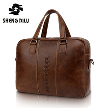 NEW 2015 High Quality men brand Genuie Leather bag Men Vintage handbags casual briefcase business bag brown/coffee Free Shipping(China (Mainland))
