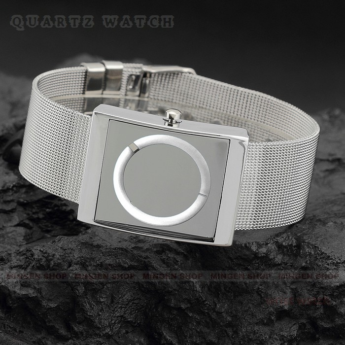 Cool Men Square Wrist Watch PC movement 6 colors Choice No Hour & Minute Indicators Wide Alloy Band(China (Mainland))