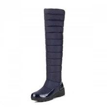BONJOMARISA genou cuissardes femmes chaussures d'hiver avec fourrure plate-forme chaussures noir bleu pailleté vers le bas des bottes de neige femme 2020(China)