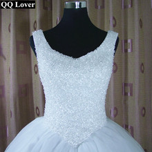 Buy QQ Lover 2017 Shining Luxury Straps White Crystals Tulle Ball Gown Wedding Dress Vestido De Noiva Bridal Gowns Wedding Gowns for $82.36 in AliExpress store